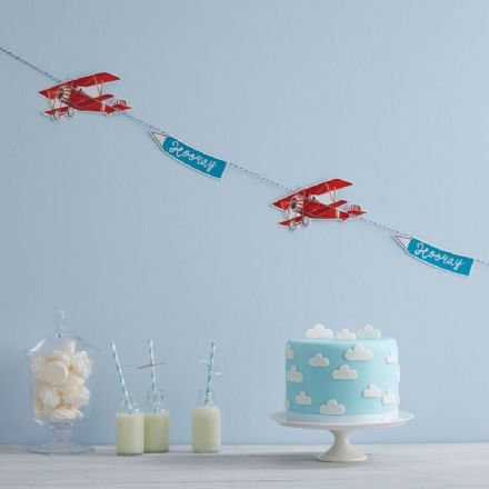 Vintage Red Plane Bunting - 1.5 metres long